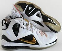 NIKE LEBRON 9 P.S ELITE JAMES HOME WHITE-GOLD-BLACK SZ 12 [516958-100]