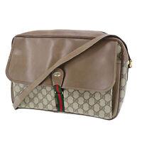GUCCI GG Plus Web Stripe Shoulder Bag Brown PVC Leather Vintage Auth JUNK#UU15 S