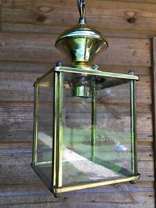 Vintage Antique Style Brass & Glass Square Ceiling Pendant Lantern Light Lamp