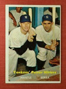 ∎ 1957 TOPPS baseball card MICKEY MANTLE / YOGI BERRA #407 **AWESOME CARD**