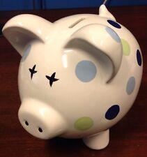 "White Ceramic Pig Piggy Bank With Polka Dots 7"" Tall X 6"" W X 7"" D"