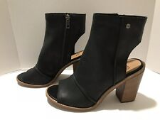 Ugg Valencia Peep Open Toe Pumps Ankle Boots Heels Leather Black 8.5 / 39.5 $160
