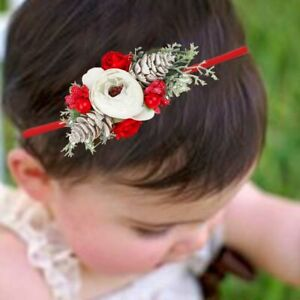 Baby Christmas Floral Headband - fits baby to 8 years old