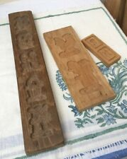 More details for 3 vintage wooden treen dutch/german 'speculaas' biscuit moulds vgc