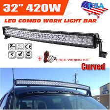 "2017 32"" 420W CREE Curved Led Work Light Bar Spot Flood Offroad 4WD PICKUP SUV"