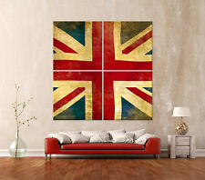 VINTAGE FLAG GB Leinwand Bild Kunstdruck Abstrakt England Bilder Modern Pop Art