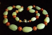ONE OF A KIND Vintage Chinese Hetian River Pebble Jade Sterling Necklace 30""