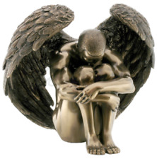 Winged Male Nude Angel Sitting With Arms Holding Knees Statue Sculpture Figure