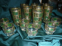 Vintage CULVER PRADO GREEN Highball Cocktail glasses, Set of 8 plus 6 cocktail