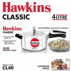 HAWKIN Classic CL40 4-Liter New Improved Aluminum Pressure Cooker, Small, Silver