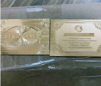 WR 5 × Gold Certificates For Zimbabwe 100 Trillion Dollar Gold Ingot Bar Rock