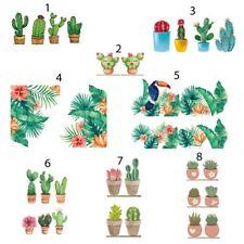 Adesivi murali piante grasse cactus kawaii tropical tucano vasi cucina soggiorno