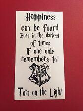 Happiness Turn On The Light Harry Potter Inspired Wine Bottle Vinyl  Decal