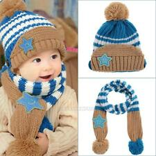 2Pcs Toddler Girls Boys Baby Kids Beanie Winter Warm Hat Knitted Wool Scarf Cap