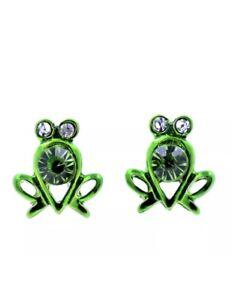 Cute Green Crystal Frog Gem Fashion Women Girl Stud Beautiful Animal Earrings