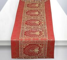 Ethnic Decorative Table Runner Christmas Red Brocade Peacock Linen Tablecloth