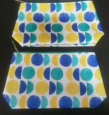 CLINIQUE yellow blue green teal circles MAKE-UP BAG cosmetic pouch case set of 2