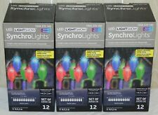 LOT of 3 - Gemmy LED Lightshow C9 Synchro Lights Multi Color 11 Ft Set Of 12