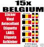 15 Flag Sticker Vinyl Etiquette LABEL Etiqueta Aufkleber BELGIUM