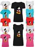 Women Ladies Mickey Mouse Slogan Print T shirt & Vest Trendy Tank Top