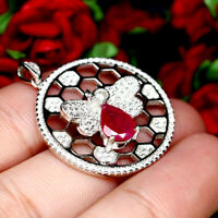 NATURAL 6 X 8 mm. PEAR RED RUBY & WHITE CZ PENDANT 925 STERLING SILVER