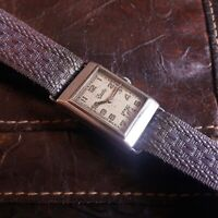 ZENTRA 235 RECTANGULAR ALL STEEL GERMAN WRIST WATCH MILITARY NO DH WW II 1930S