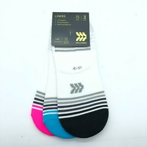 All in Motion Womens Liners Socks Arch Support Striped 3 Pack White 4-10