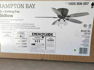 Hampton Bay Sidlow 52 in. Indoor LED Bronze Hugger Dry Rated Ceiling Fan