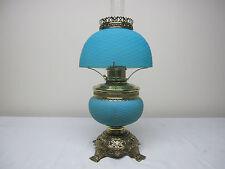 VERY RARE ANTIQUE BLUE SATIN CUT VELVET ART GLASS TABLE LAMP BY ROCHESTER CO.