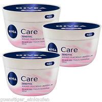 (28,40€/L) 3x 200ml Nivea Care Sensitive Creme für Gesicht & Körper Aloe Vera