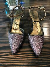 "Lanvin Glitter Heels Gold Size 41 .5 BRAND NEW free Ship Sling Back 3.25"" High"