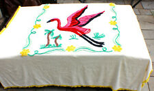 Vintage Midcentury Chenille Bedspread with Fabulous Flamingo and Flowers