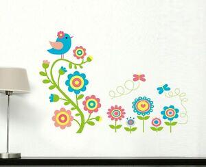 Colorful Bird and Flowers Wall Sticker Decals Girl Nursery Kids Home Art Decor
