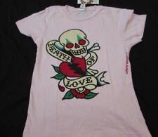 f5bd2b2a1 ED HARDY womens Lrg fit Med pink s/s heart skull Death of Love cotton