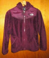Girls The North Face Full Zip Hooded Jacket Size L (12-14) Fleece Plush Mulberry