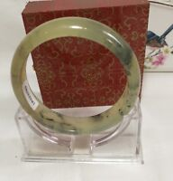 Certificated Genuine natural black ink Jade Gemstone bangle Dia 64mm W16.5.mm