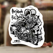"""Hot Rods & Fat Bobs Rat Fink genuine sticker decal Ed Roth hot rod MOON 4.5"""""""