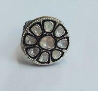 Natural Diamond Polki Rose Cut Diamond Gold 925 Sterling Silver Victorian Ring