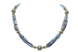 Traditional Natural stone blue lapiz lazuli beads 925 Sterling Silver necklace