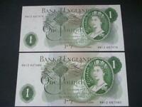 1970 PAIR J B PAGE REPLACEMENT £1 NOTES UNCIRCULATED POUND NOTES DUGGLBY B323