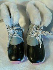 Carter's Vermont Girls Size 11 Snow Rain Winter Boots Faux Fur Trim Lace Up