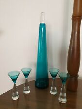MID CENTURY MODERN GLASS DECANTER AND 4 LIQUEUR GLASSES - ACQUA - MADE IN POLAND