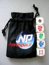 POKER DICE ADVERTISING NP AEROSPACE SET OF 5 16mm DIE PLUS STORAGE POUCH