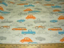 """~5 2/8 YARDS~CARS """"RETRO RIDES"""" ~COTTON DRAPERY UPHOLSTERY FABRIC FOR LESS~"""