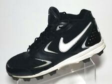 Nike Keystone Black White Swoosh Baseball Cleats 3/4 Lace Up Rubber US 11 EU 45