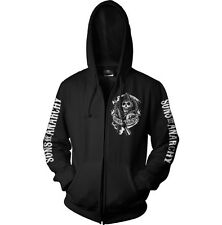 Officially Licensed Sons Of Anarchy SOA Scroll Logo Zipped Hoodie S-XXL Sizes