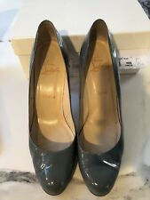 Authentic Christian Louboutin Simple Pump 100 Calf patent Grey Leather 41/ 11