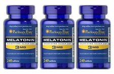 3 x Puritan's Pride Melatonin 3 mg 240 Tablets Natural Sleep Aid Free Shipping