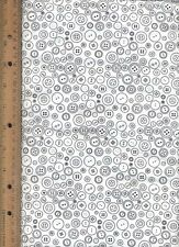 White and Black Buttons Quilt Quilting Fabric by half yard