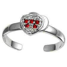 Heart Toe Ring Face Height 6 mm Solid Sterling Silver 925 Ruby Cz Rhodium Plated